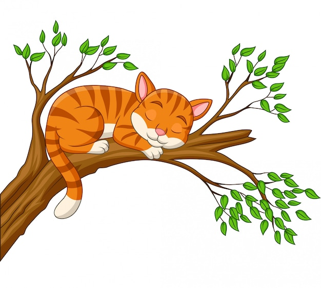 Cartoon cat sleeping on the branch