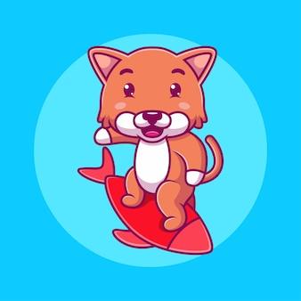 Мультфильм кошка серфинг
