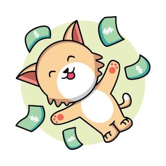 Мультяшный кот с кучей денег