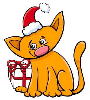 クリスマスプレゼント付きの漫画猫