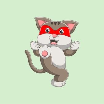 싸우는 스타일 만화 고양이