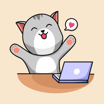 Мультфильм кошка с ноутбуком