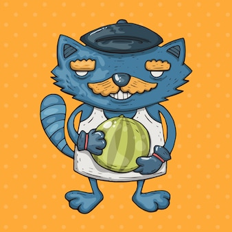 Cartoon cat with a mustache holds a watermelon. cartoon illustration in comic trendy style.