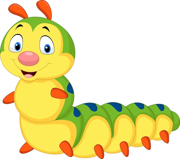 Cartoon caterpillar isolated on white background