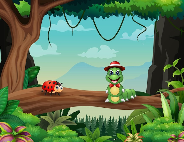 Cartoon a caterpillar and ladybug in the forest