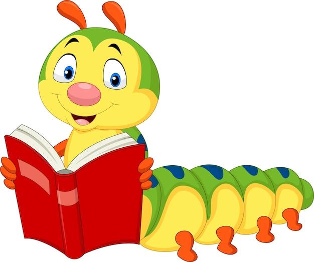 Cartoon caterpillar reading book