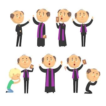 Мультяшный католический священник читает молитву, благословляет прихожан, держит набор иллюстраций «крест, библия и евангелие»