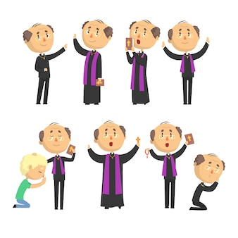 Cartoon catholic priest reading prayer, blessing parishioners, holding cross, bible and gospel set of  illustrations