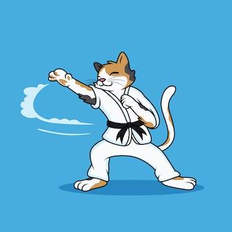 クールなポーズで武道をしている漫画猫