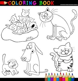 Мультфильм кошки для раскраски или страницы