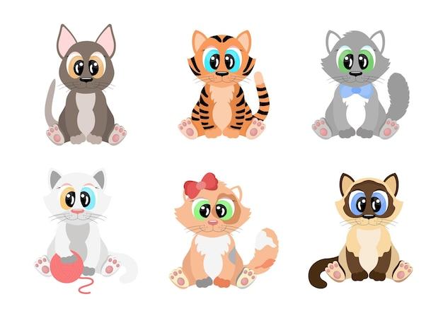 漫画の猫のセット。大きな目を持つさまざまな品種のかわいい子猫が座っています