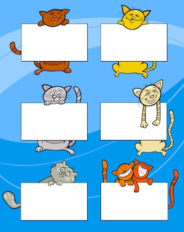 Cartoon cats with board or card set