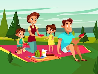 Cartoon caucasian family at outdoor picnic party at weekend.
