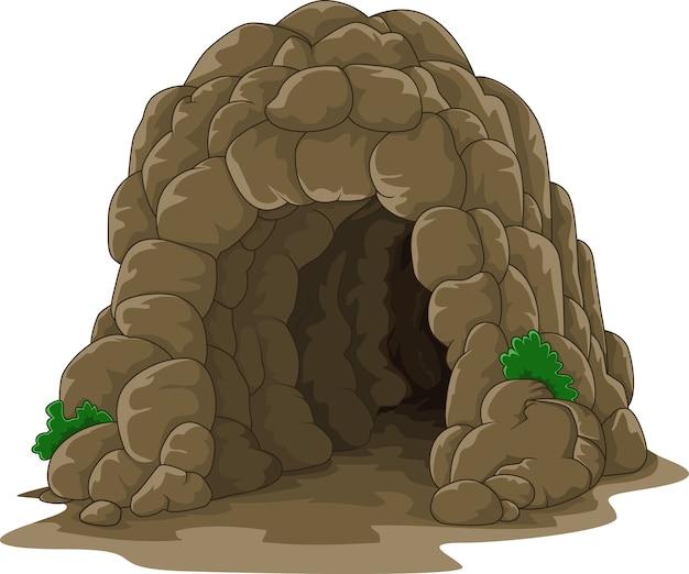 白い背景で隔離された漫画の洞窟