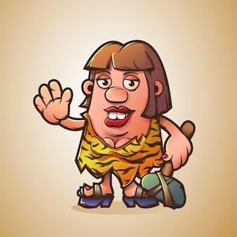 Cartoon cave woman