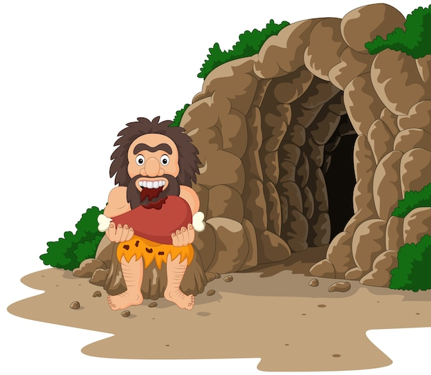 Cartoon caveman eating meat with cave background
