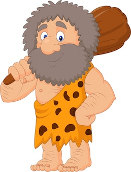 Cartoon caveman holding club