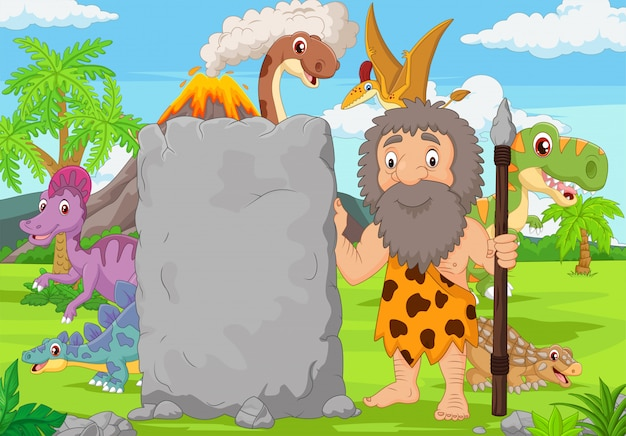 Cartoon caveman holding stone sign in the forest