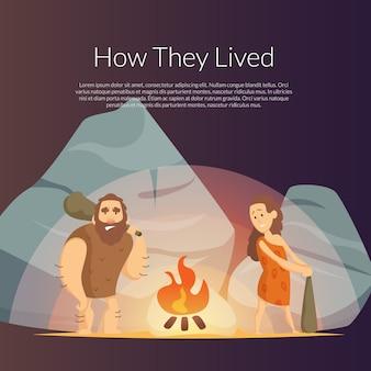 Cartoon cavemen background