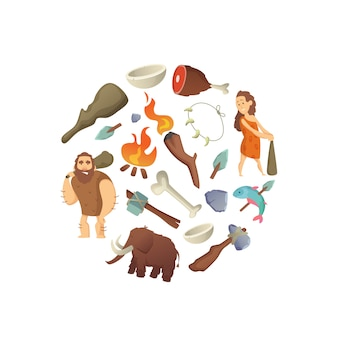 Cartoon cavemen in circle shape