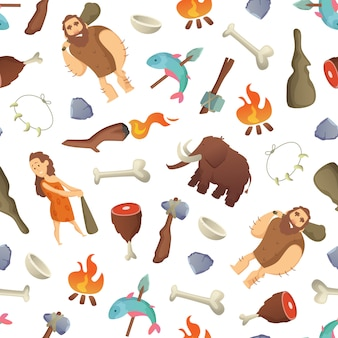 Cartoon cavemen pattern