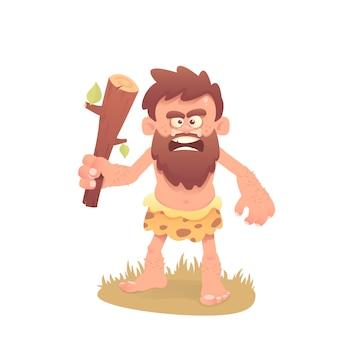 Cartoon cavemen with a club