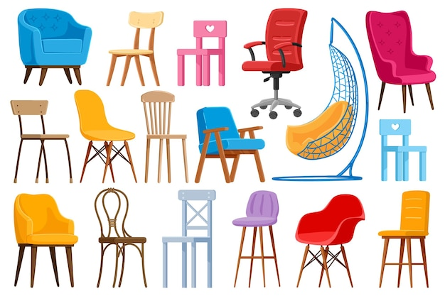 Cartoon chairs. home or office modern chairs and armchairs, interior furniture elements illustration set