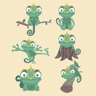 Cartoon chameleon cute illustration set.