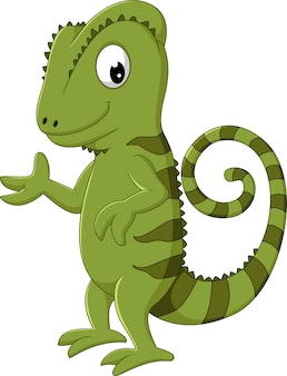 Cartoon chameleon posing