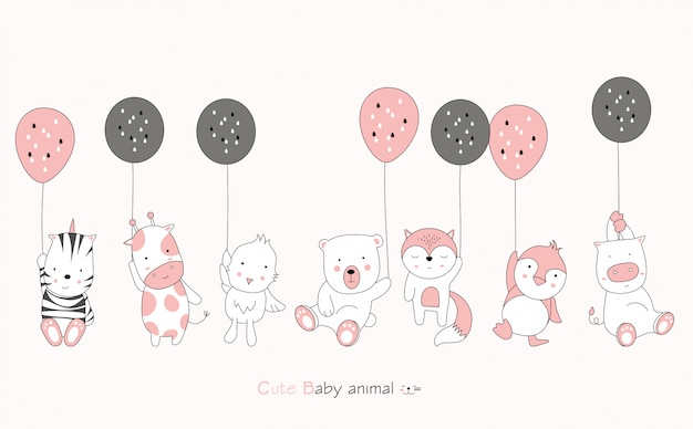 Cartoon character about cute baby animal and balloon on pink background. hand drawn cartoon style.