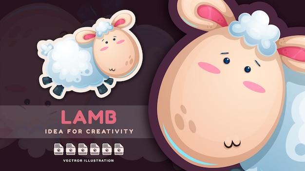 漫画のキャラクターの愛らしい動物の子羊のかわいいステッカー