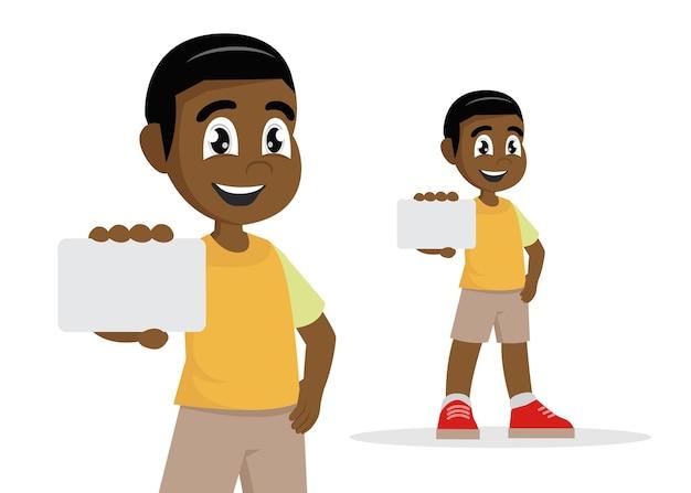 Cartoon character, african boy holding card., vector eps10