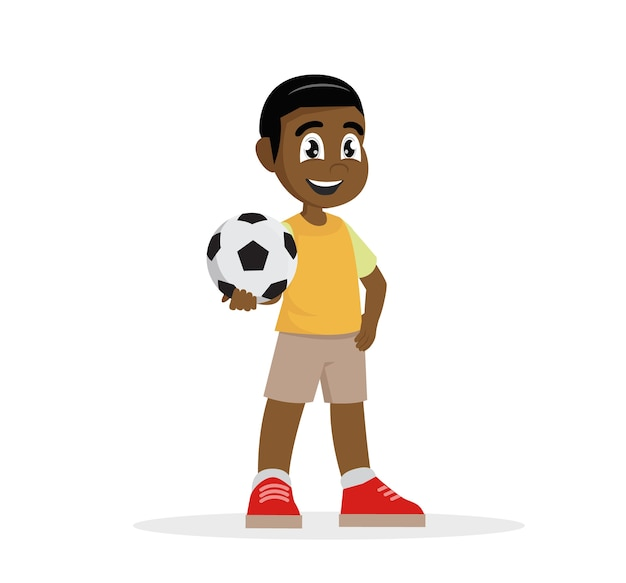 Cartoon character, african boy holds the ball in his hand.,vector eps10
