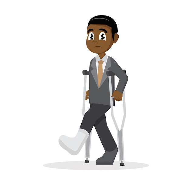 Cartoon character, african businessman with crutches and a plaster on his leg