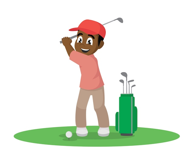 Cartoon character, african happy man playing golf., vector eps10