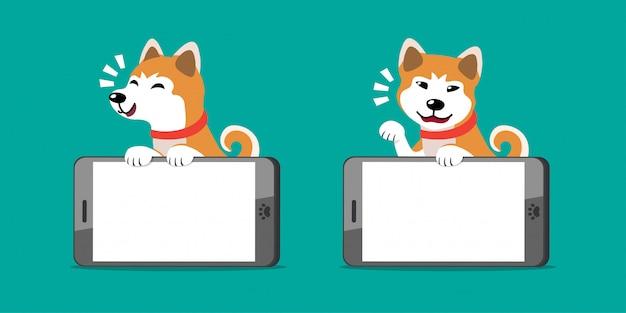 Cartoon character akita inu dog and smartphones