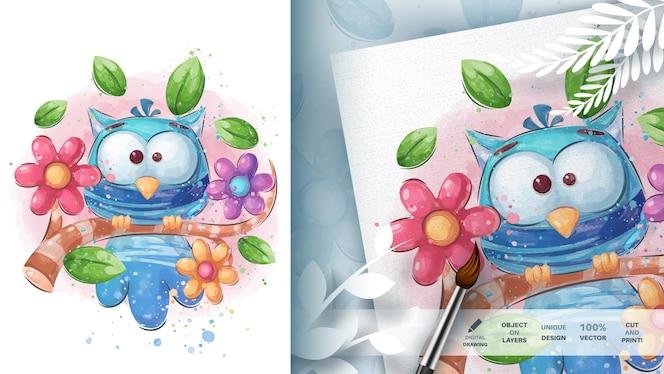 漫画のキャラクター動物の鳥の水彩イラスト