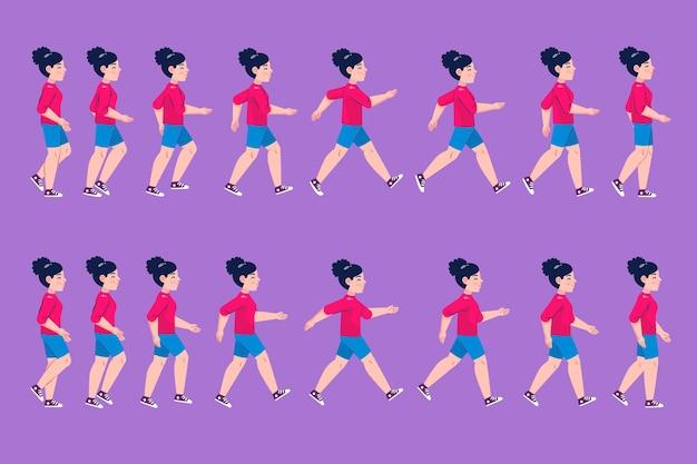 Set di frame di animazione personaggio dei cartoni animati