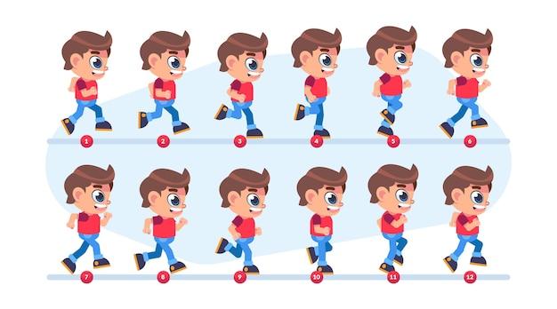 Fotogrammi di animazione del personaggio dei cartoni animati
