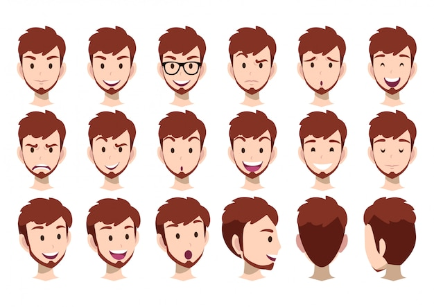 Cartoon character for animation and man head