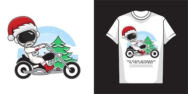 Cartoon character of astronaut santa claus is riding a motorbike with t-shirt design