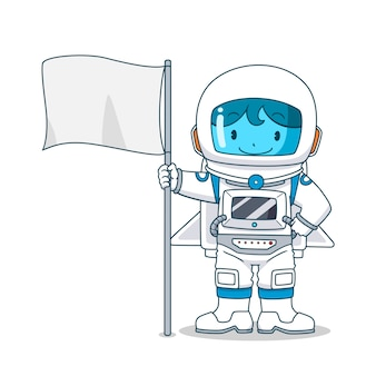 Cartoon character of astronaut with flag