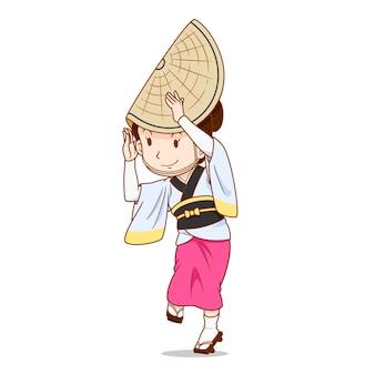 Cartoon character of awa odori dancer