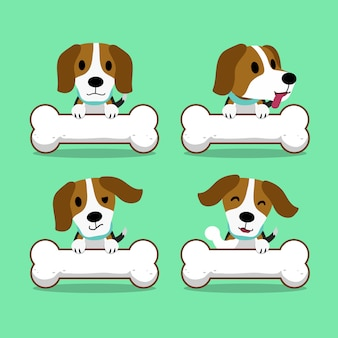 Cartoon character beagle dog with big bones