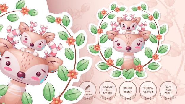 漫画のキャラクターの美しさの動物の雄牛かわいいステッカーベクトルeps10