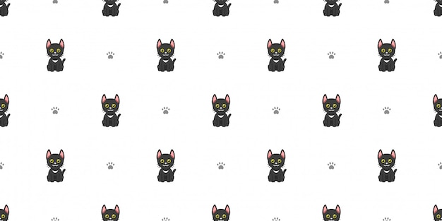Cartoon character black cat seamless pattern background