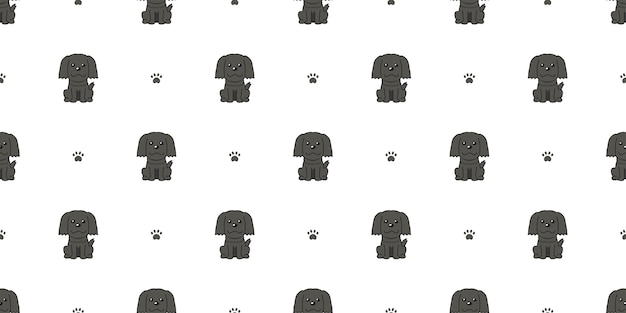 漫画のキャラクターの黒い犬のシームレスなパターンの背景
