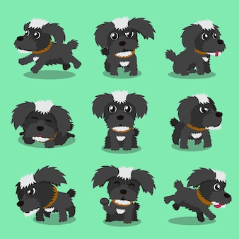 Cartoon character black maltese dog poses