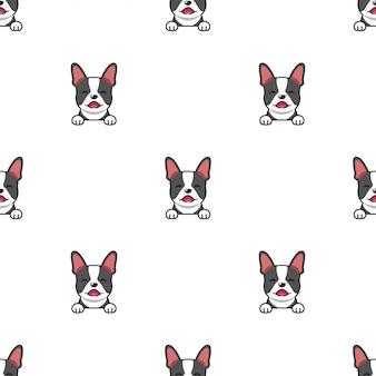 Мультипликационный персонаж бостон-терьер собака бесшовный фон фон