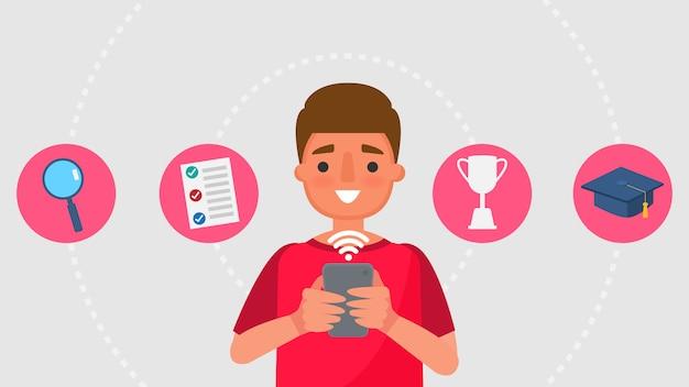 Персонаж из мультфильма мальчик и концепции коммуникации образования. дистанционное обучение информационные технологии иллюстрация образование онлайн учиться дома с эпидемической ситуацией содержание.